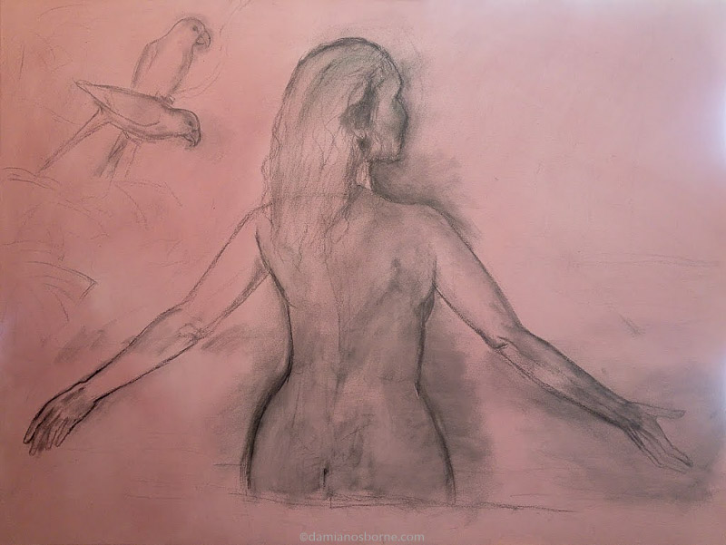 Painting the Traditional Way, part 2, excess charcoal wiped off the underdrawing, Damian Osborne
