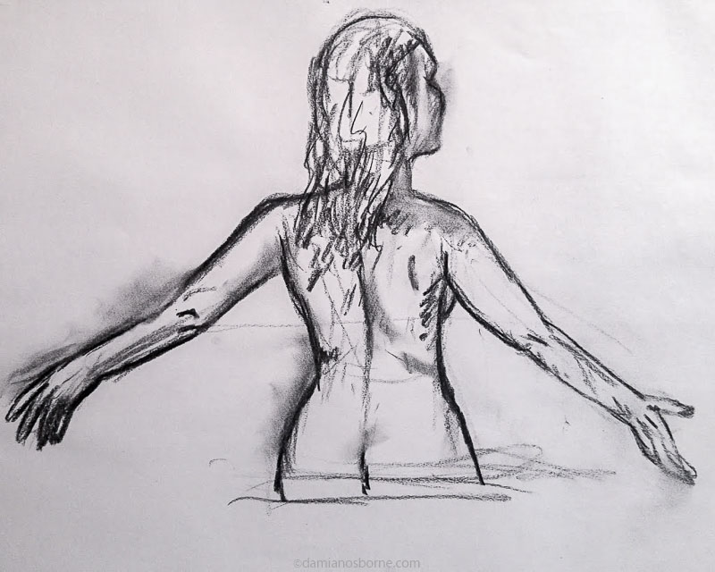 Painting the Traditional Way, part 2, preliminary charcoal sketch of a woman, Damian Osborne