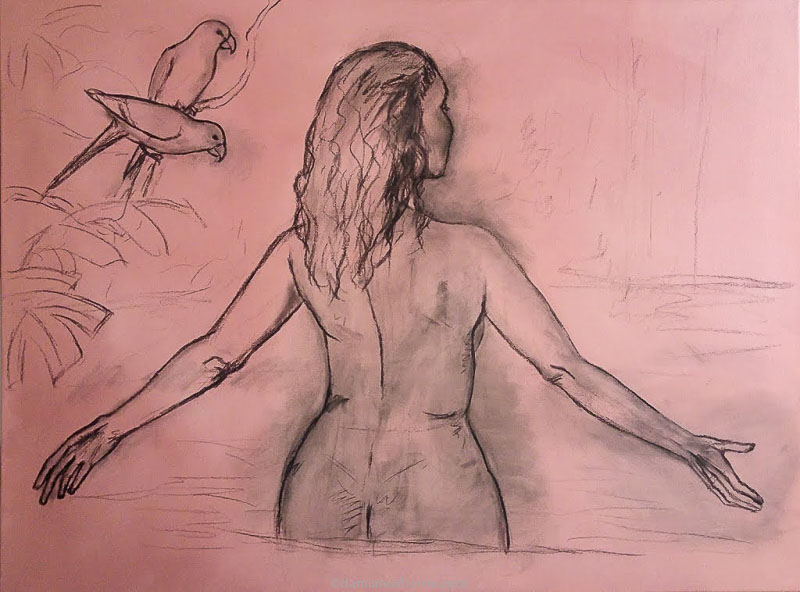 Painting the Traditional Way, part 2, the charcoal underdrawing on canvas, woman in a tropical pool, Damian Osborne