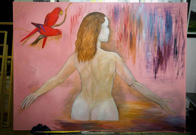 Painting the Traditional Way, part 3, painting background of figure painting dead layer stage, Damian Osborne