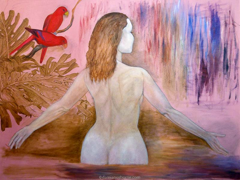 Painting the Traditional Way, part 3, painting foliage, woman in a tropical pool figure painting, Damian Osborne