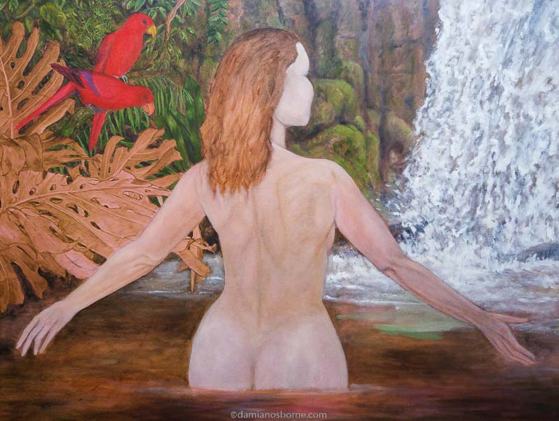 Painting the Traditional Way, part 4, paint the background in oils, painting a waterfall, woman in tropical pool, Damian Osborne