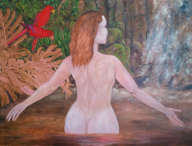 Painting the Traditional Way, part 4, paint the background in oils, painting moss, ferns and rocks, woman in tropical pool, Damian Osborne