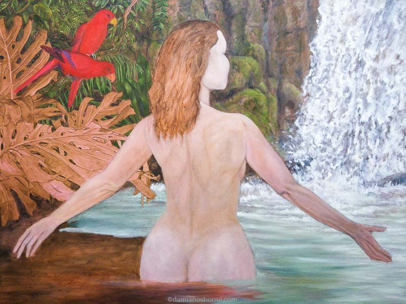 Painting the Traditional Way, part 4, paint the background in oils, painting water wet in wet, woman in tropical pool, Damian Osborne