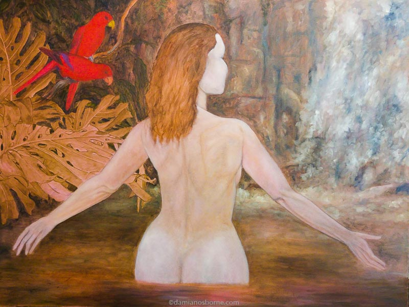 Painting the Traditional Way, part 4, paint the background in oils, wet in wet oil painting, woman in tropical pool, Damian Osborne