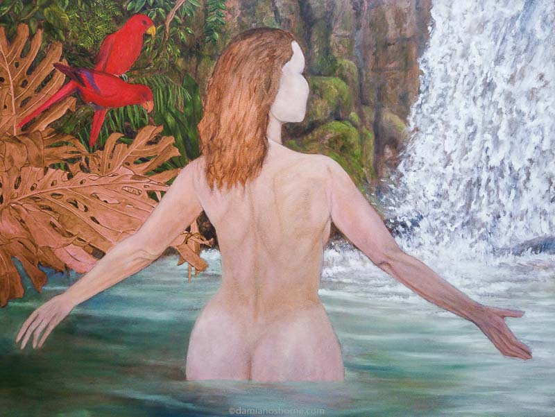 Painting the Traditional Way, part 4, painting water in oils, woman in tropical pool, Damian Osborne