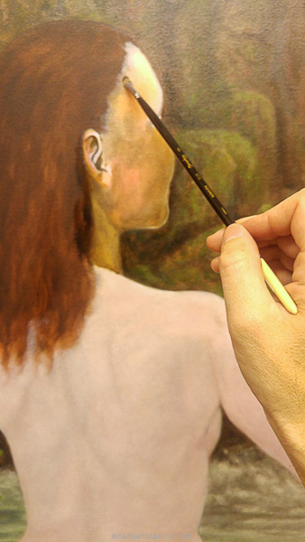 Painting the Traditional Way, part 5, final glazing in oils, painting the verdaccio, Damian Osborne