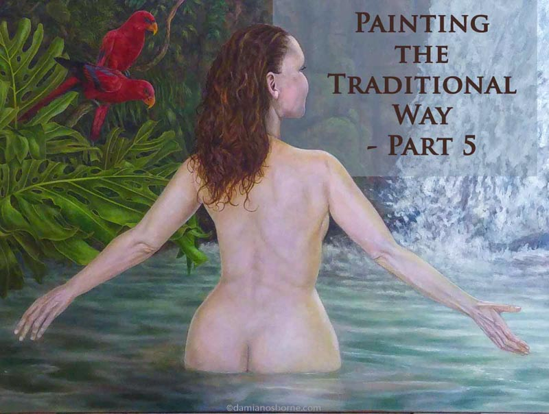 Final glazing in oils, woman in tropical pool figure painting.