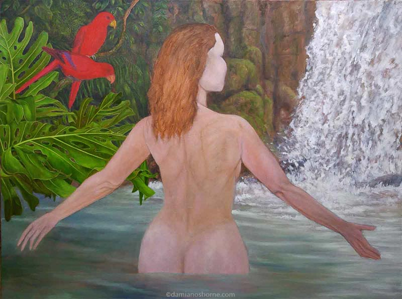 Painting the Traditional Way, part 5, final glazing in oils, woman in tropical pool, painting foliage, Damian Osborne