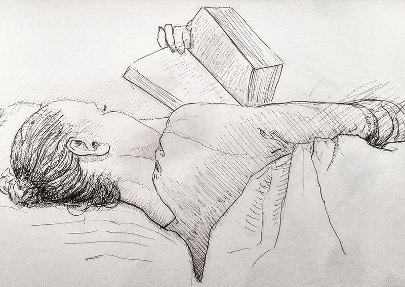 Pen-Drawing-of-Janine-Reading-in-Bed-by-Damian-Osborne