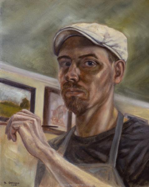 Self-Portrait,-oil-on-canvas,-Damian-Osborne,-2018,-Taking-myself-seriously-as-an-artist,-fine-art