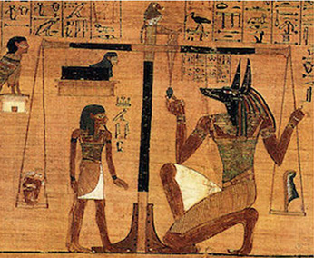 Shai, with the god Anubis (right) weighing the heart against the Feather of Truth (Ma'at)