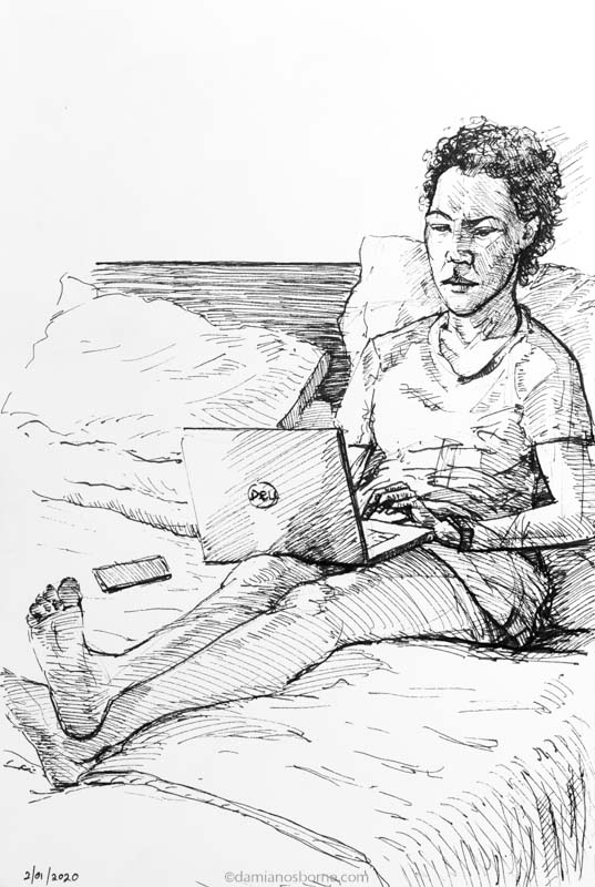 Sketchbook drawing Janine Working on Laptop by Damian Osborne