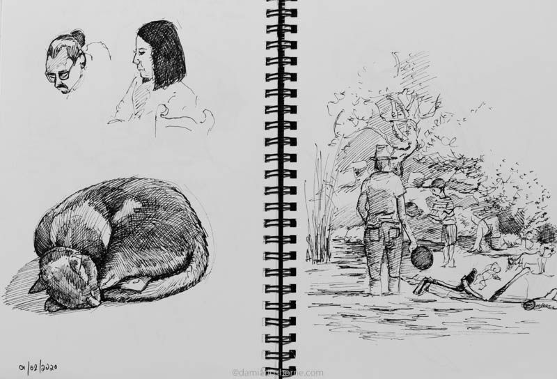 Sketchbook 2020, two heads, a cat sleeping, and a family on a riverbank, Damian Osborne