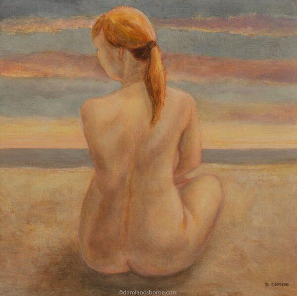 Awakening painting by Damian Osborne of nude woman sitting on beach waiting for sunrise