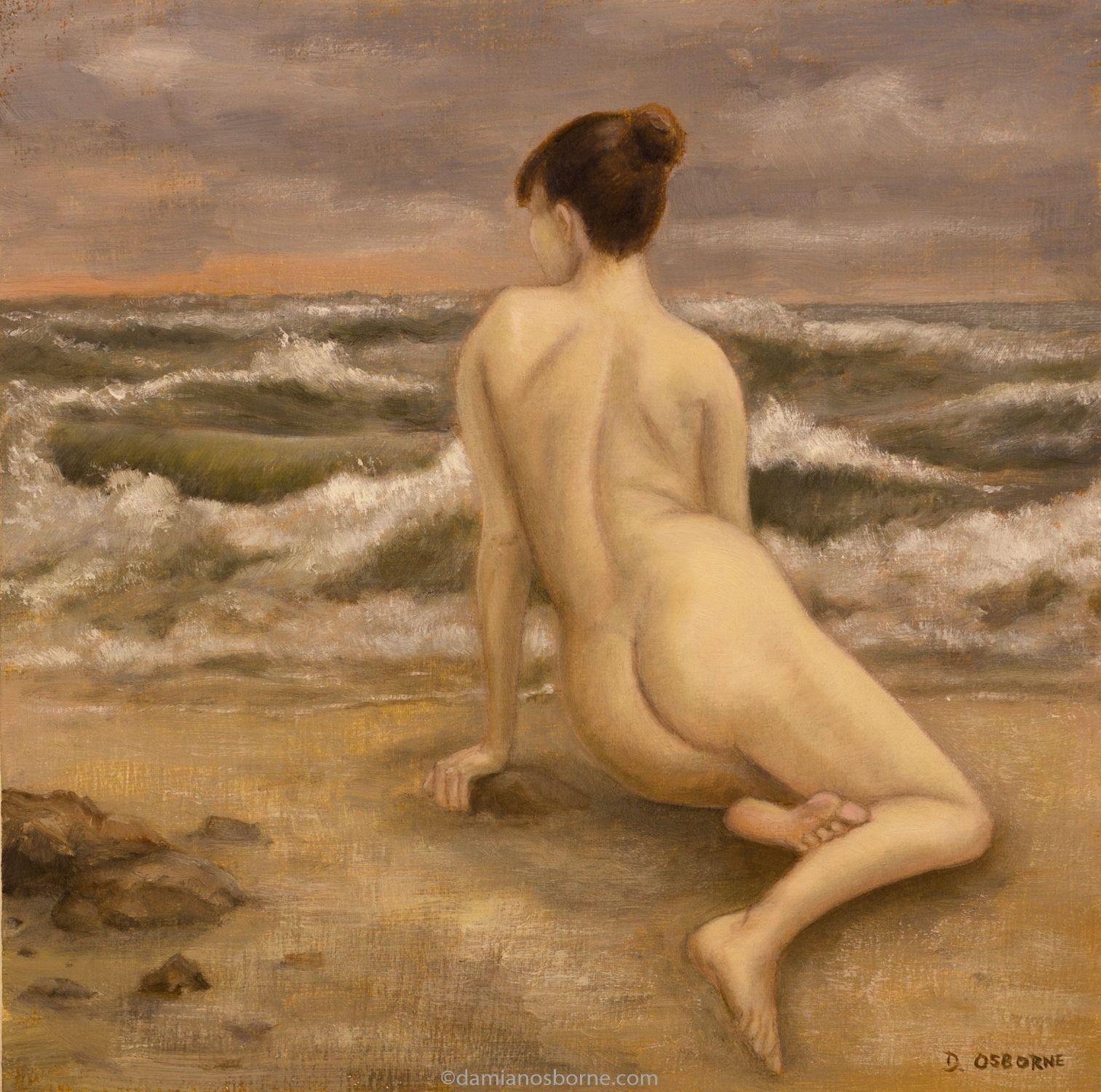 Figurative oil painting by Damian Osborne of a nude woman lying near waves crashing