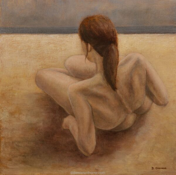The Sirens_Edge of the World, figurative oil painting by Damian Osborne of woman lying on beach looking at ocean
