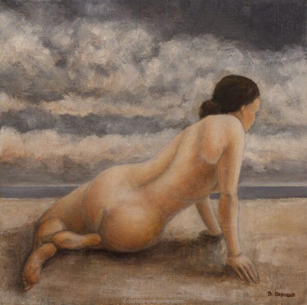Flightless Bird, figurative oil painting by Damian Osborne of nude woman lifting herself up beside the ocean