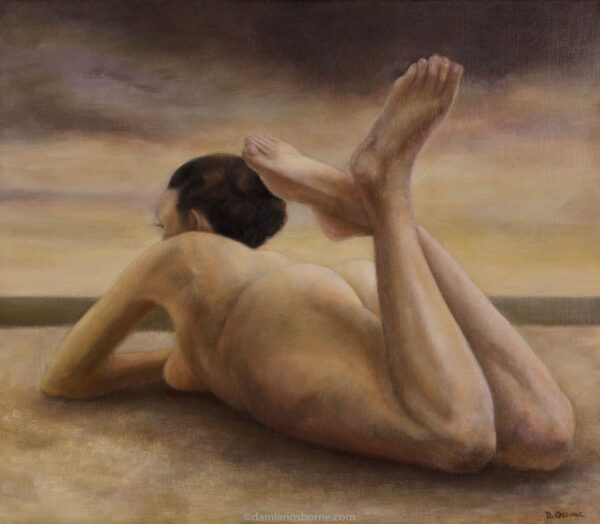 Low Tide painting by Damian Osborne of nude woman lying on beach with tide out