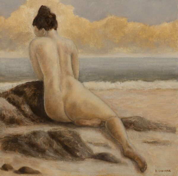 Remembering How Hard it's Been, figurative oil painting by Damian Osborne of woman leaning against rock at seaside