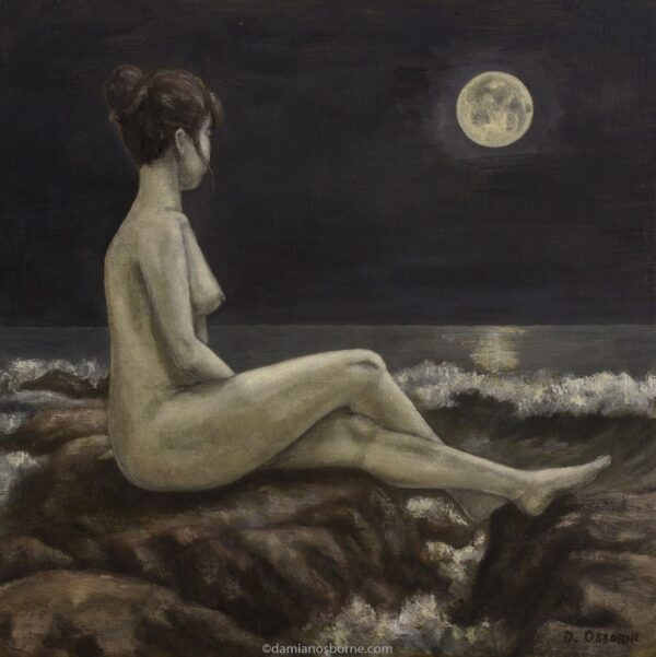 Song to the Moon painting by Damian Osborne of woman sitting on rock gazing at moon