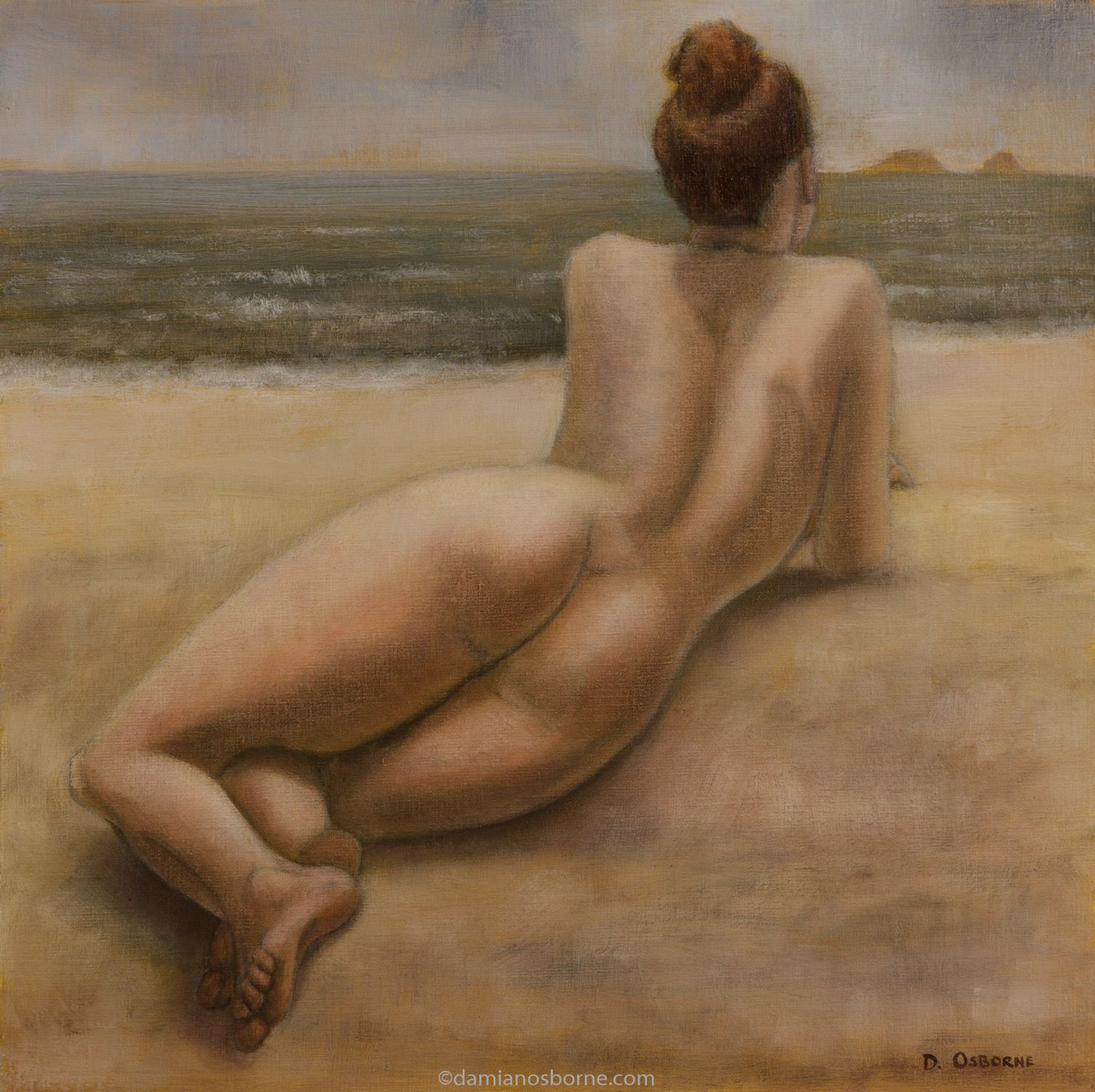 The Sirens. Figurative oil painting by Damian Osborne of a nude woman lying on the beach looking at islands in the distance