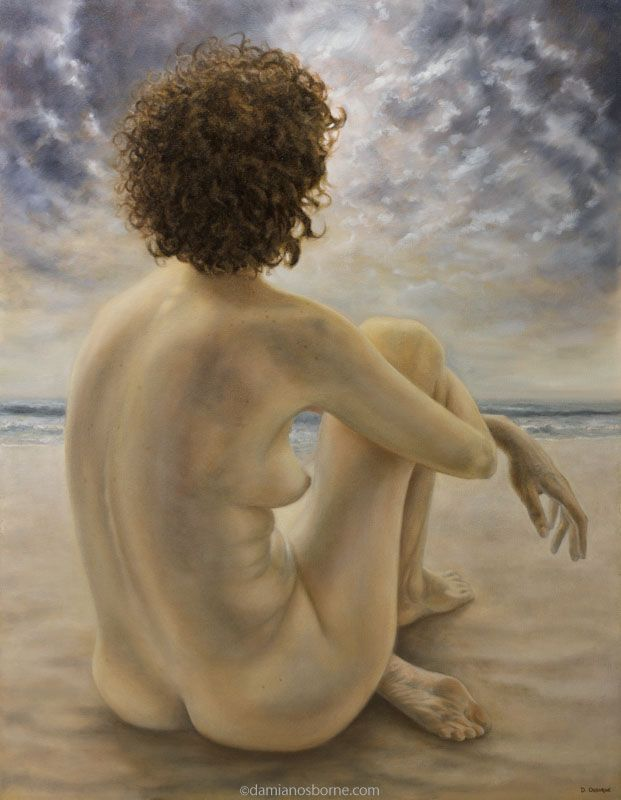 Figurative painting by Damian Osborne of a woman sitting on beach staring at sunset