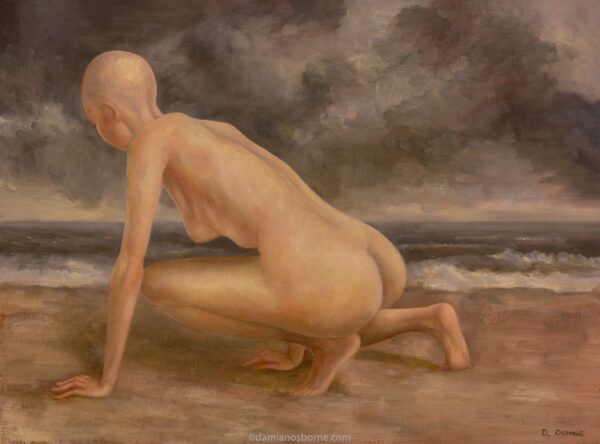 The Ocean and the Giantess figure painting by Damian Osborne of nude woman crouching on seashore