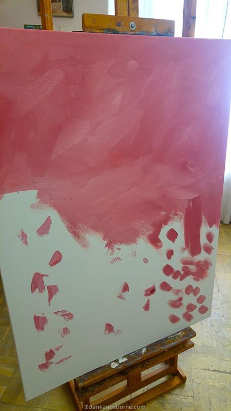 Toning the canvas warm pink, painting the traditional way, Damian Osborne
