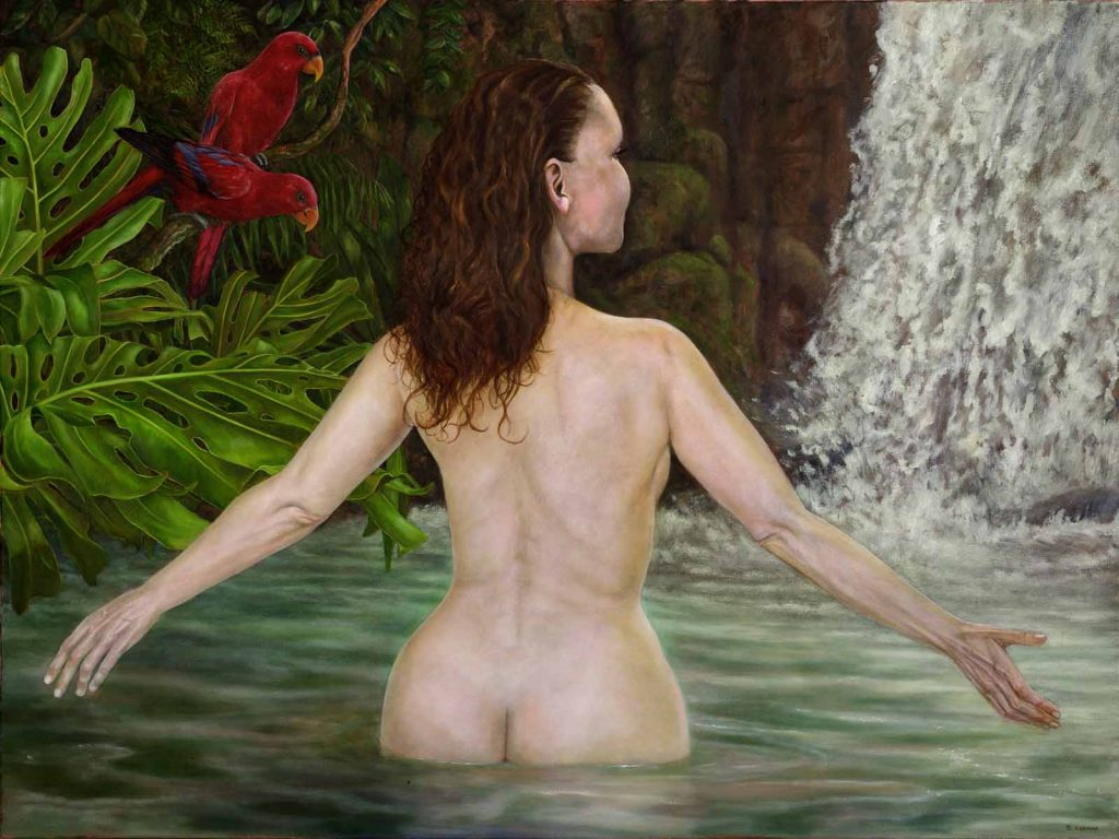 Woman in a Tropical Pool figure painting by Damian Osborne