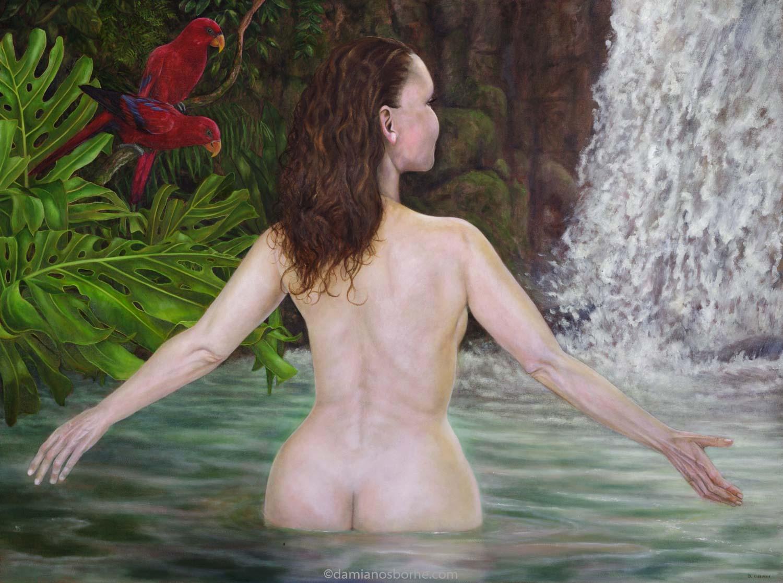 Woman in a Tropical Pool by Damian Osborne, oil on canvas, 40 x 80 cm, 2017