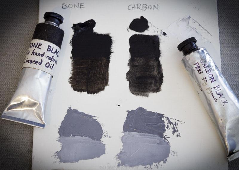 carbon black vs bone black oil paint, Damian Osborne